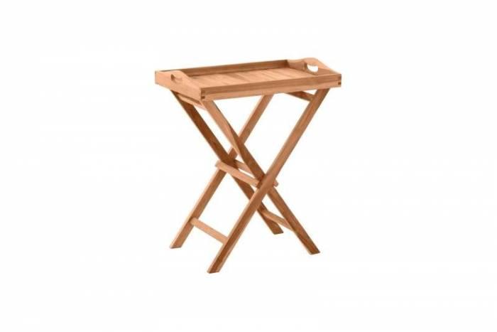 Măsută servire pliabilă Marcella, 65x60x40 cm, lemn, bej
