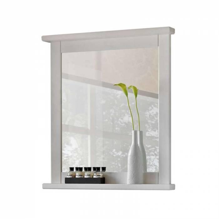 Oglindă albă Romantic, 80x70x8 cm, lemn/ sticlă, alb