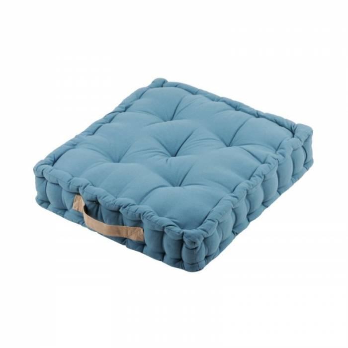 Pernă albastră de podea Duo Sol Azur Lin 45X45X10 cm