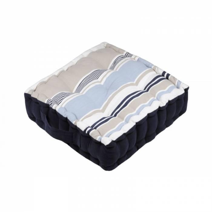 Pernă de podea cu dungi albastre Guernezey Ocean 45x45x10 cm