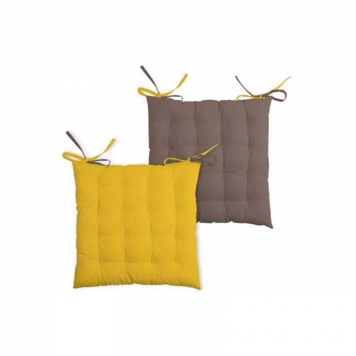Pernă galbenă pentru scaun Duo Galette Moutarde Taupe 40x40 cm
