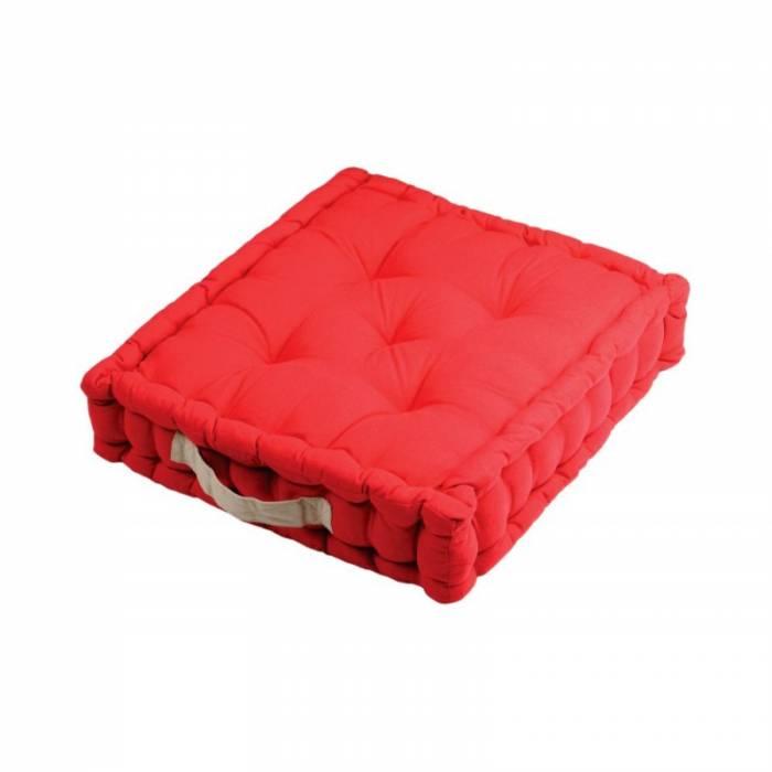 Pernă roșie de podea Duo Sol Rouge Lin 45X45X10 cm