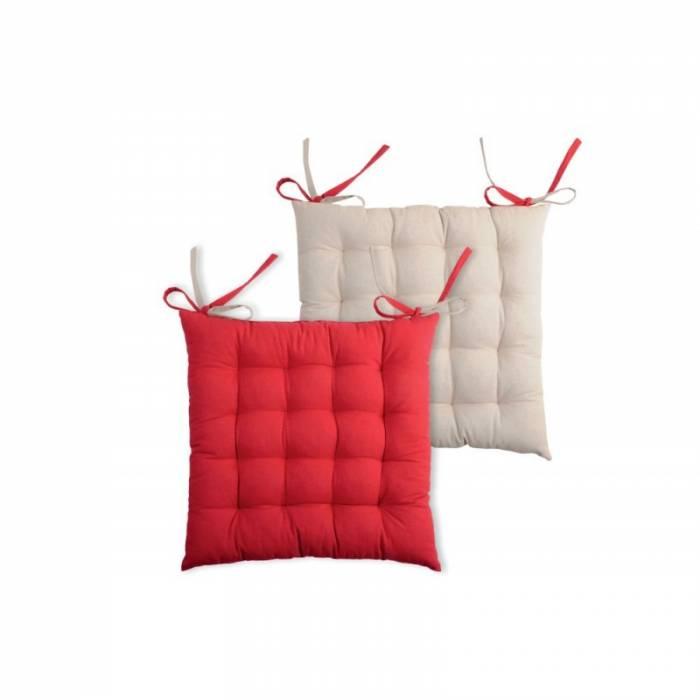 Pernă roșie pentru scaun Duo Galette Rouge Lin 40X40 cm