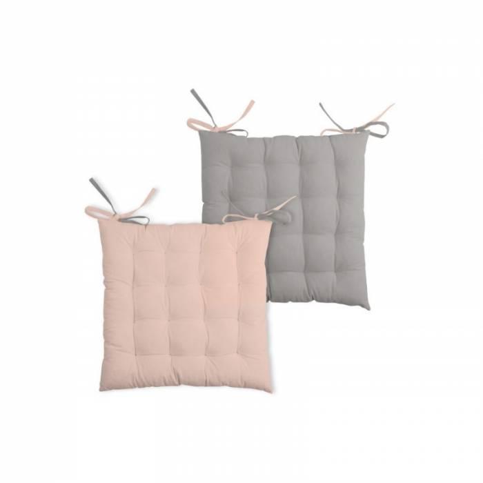 Pernă roz pentru scaun bumbac Duo Galette Poudre Souris 40X40 cm