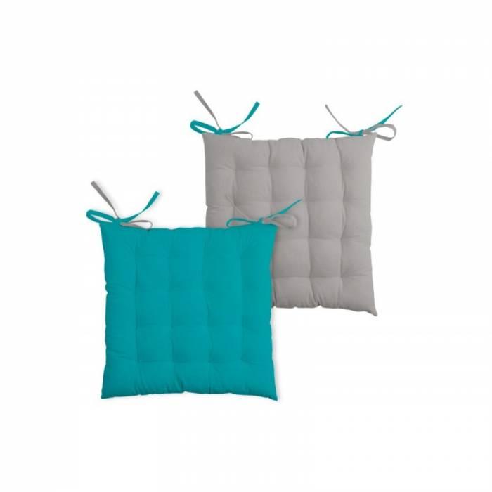 Pernă turcoaz închis pentru scaun Duo Galette Celadon Souris 40x40 cm
