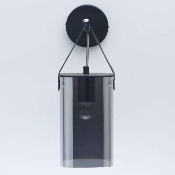 Aplică de perete Kasandra, 18x12x36 cm, metal/ sticla, negru