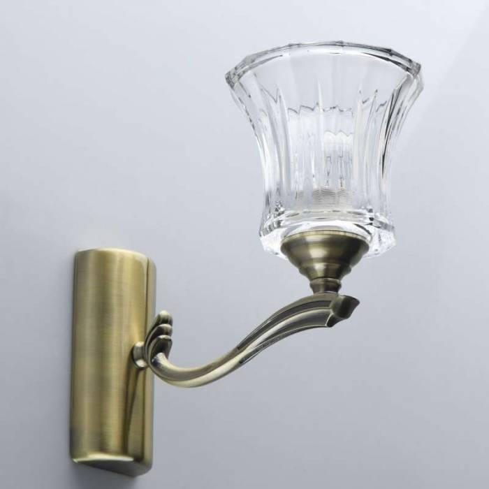 Aplică de perete Lorretta, 24x14x26 cm, metal/ sticla, alama