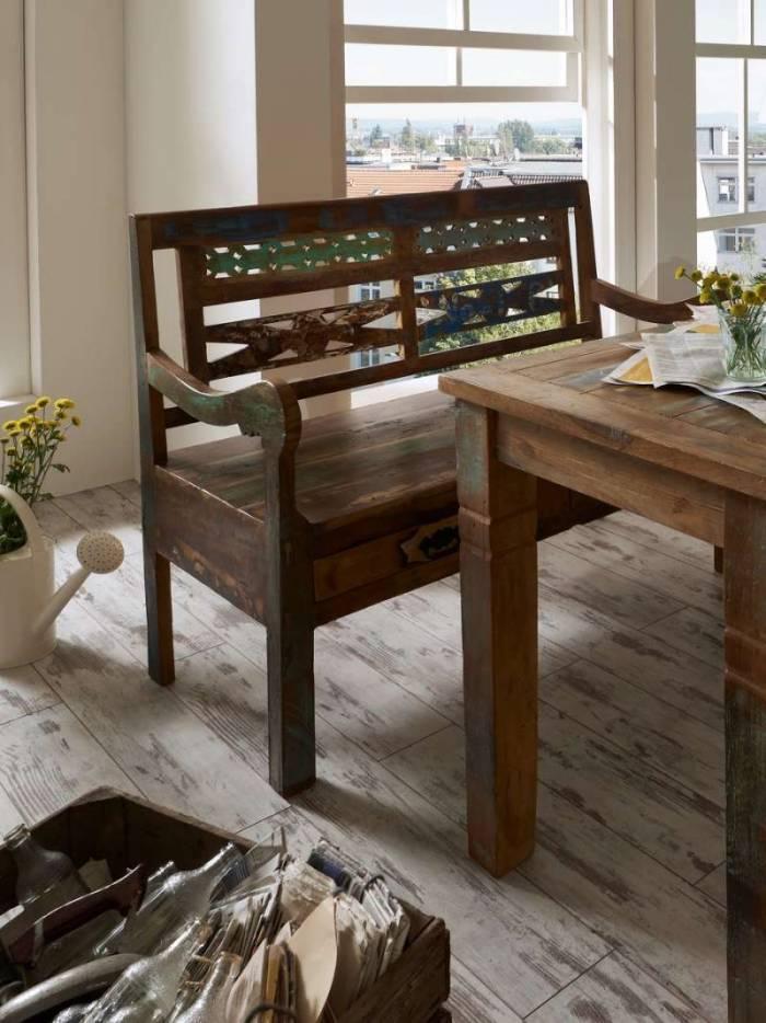 Banchetă cu sertare Indochina, 95x50x120 cm, lemn reciclat, multicolor