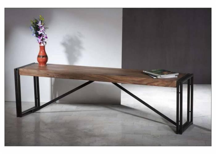 Banchetă din sheesham Panama, 45x38x160 cm, sheesham/ metal, maro/negru