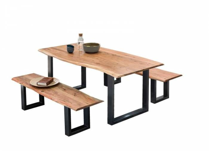 Banchetă dining Enco, 46x40x150 cm, acacia/otel, maro/negru