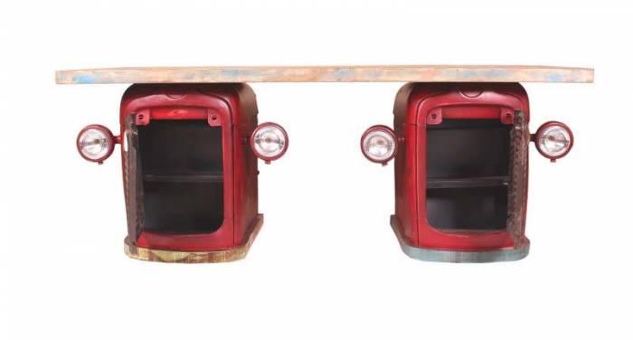 Birou în stil industrial Mahindra, 76x90x200 cm, lemn/metal, rosu/multicolor
