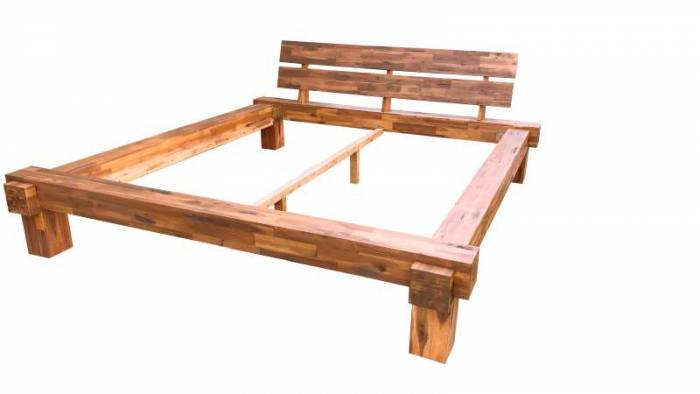 Cadru de pat Burma, 140 x 200 cm, lemn de acacia, natur