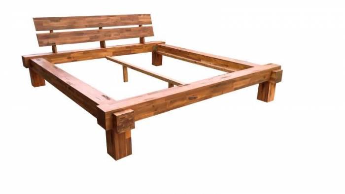 Cadru de pat Burma, 200 x 200 cm, lemn de acacia, natur