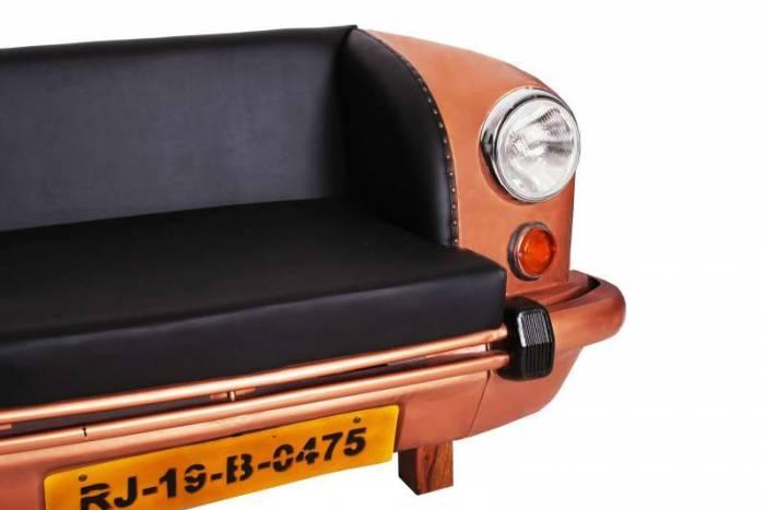 Canapea auto Swaraj, 74x73x155 cm, metal/ecopiele, maro/negru