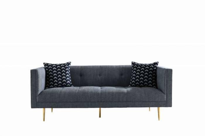 Canapea de 2 locuri Wales, 76x89x179 cm, inox/textil, gri/auriu