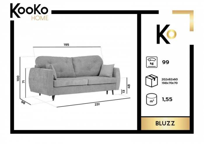 Canapea extensibilă cu spațiu de depozitare Bluzz, 3 locuri, gri, 231x98x100 cm