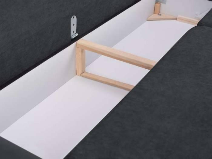 Canapea extensibilă cu spațiu de depozitare Brisbane, 3 locuri, gri închis, 231x98x95 cm