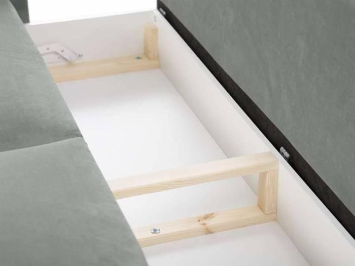 Canapea extensibilă cu spațiu de depozitare Lola, 3 locuri, gri deschis, 245x95x98 cm