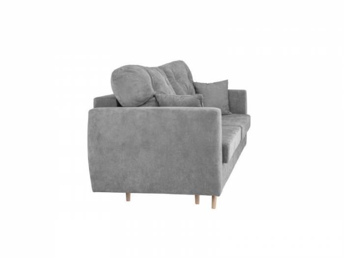 Canapea extensibilă cu spațiu de depozitare Viola, 3 locuri, gri, 231x98x100 cm