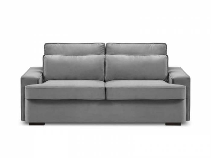 Canapea extensibilă Patrick 3 locuri , 90x110x198 cm, catifea/ lemn de fag/ lemn de pin/ pal/ placaj, gri