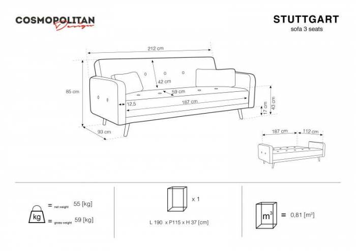 Canapea extensibilă Stuttgart, 3 locuri, roz deschis, 212x93x85 cm