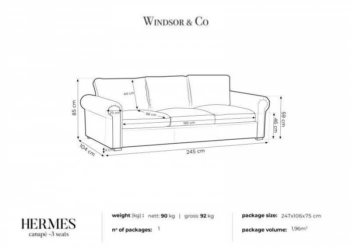 Canapea Hermes, 3 locuri, maro, 245x104x85 cm