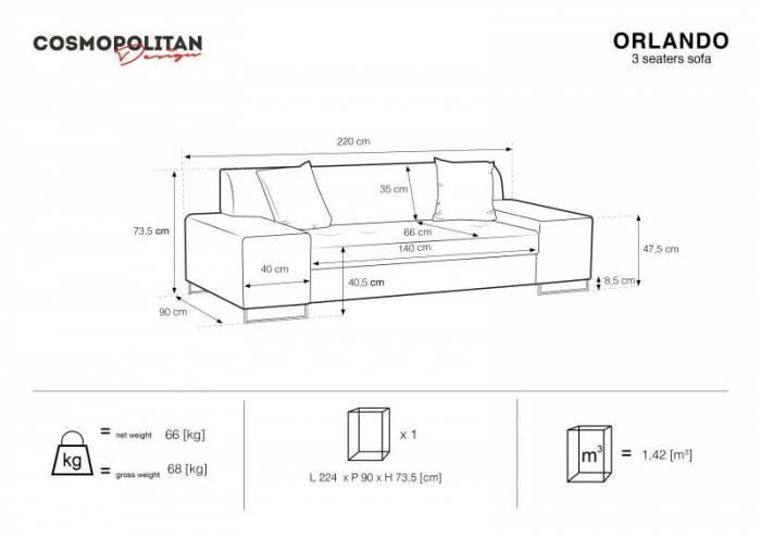 Canapea Orlando, 3 locuri, gri deschis, 220x90x73,5 cm