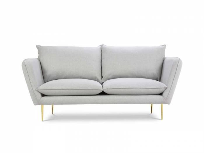 Canapea stil scandinav Willow 2 locuri, 96x90x175 cm, stofa/ metal/ lemn de pin/ pal/ placaj, argintiu