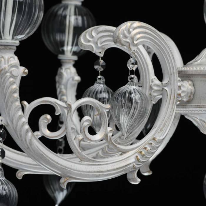 Candelabru alb din metal și sticlă Finesse
