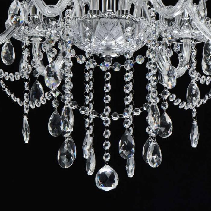 Candelabru cu șase brațe Chantelle, 210x69 cm, metal/ sticla/ cristal, crom