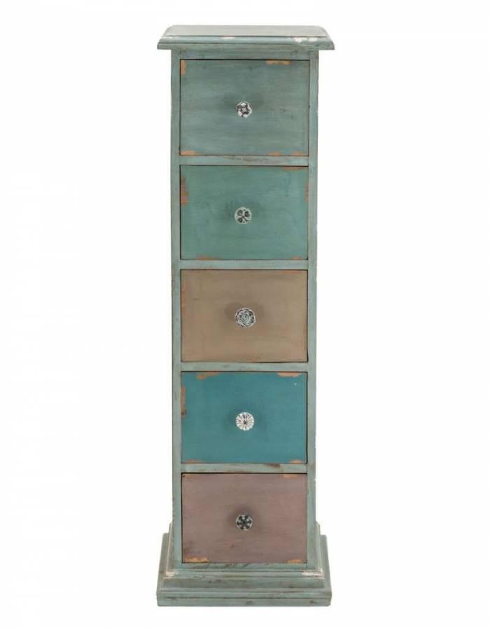 Comodă cu 5 sertare Belize, 110x32x33 cm, lemn, bleu