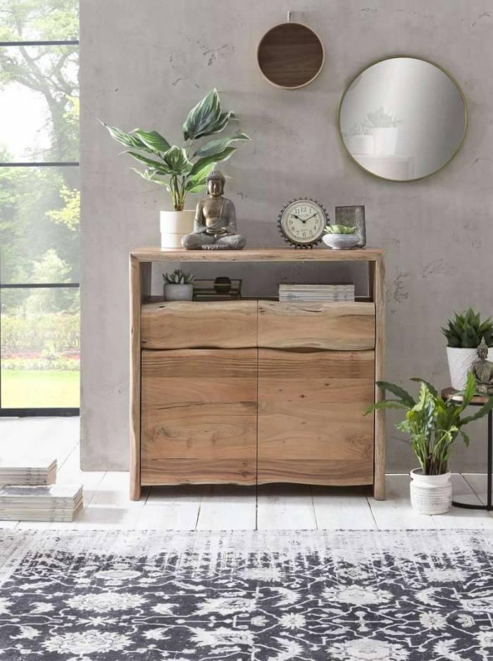 Comodă cu sertar Freya, 90x40x90 cm, acacia/ metal, maro