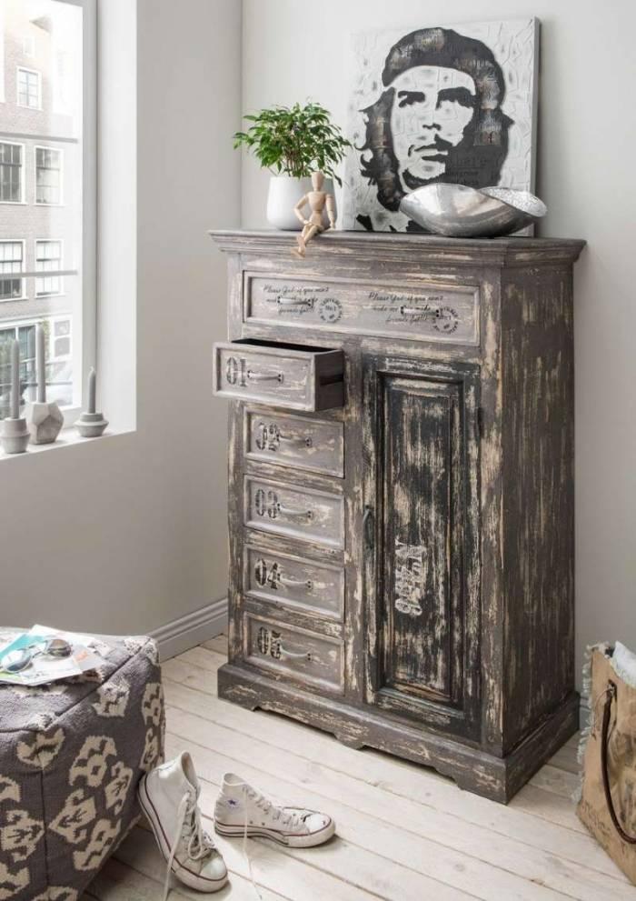 Comodă cu sertare Gallessa, 130x42x90 cm, lemn, gri