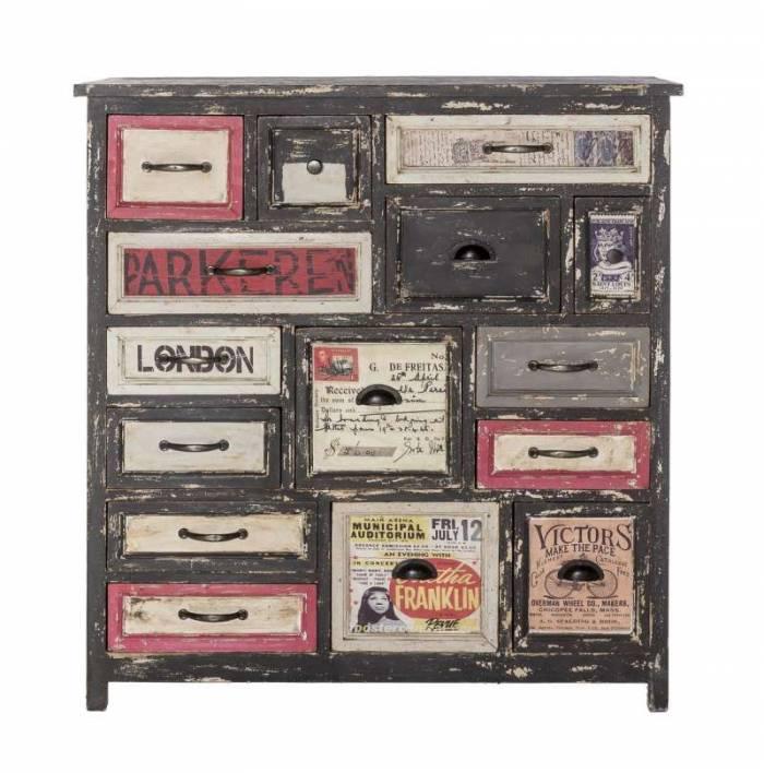 Comodă cu sertare Thompson, 109x40x100 cm, lemn, multicolor