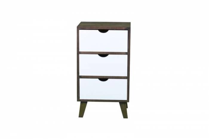 Comodă dressing 3 sertare Macao, 64x29.5x36 cm, lemn/mdf, maro/alb