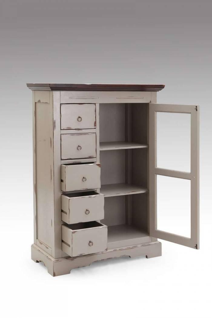 Comodă living cu vitrină Manoir, 122x39x86 cm, acacia, maro