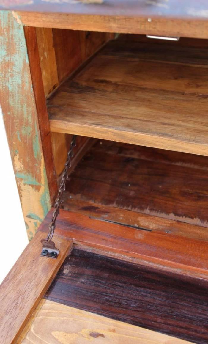Comodă pantofar Indochina, 90x40x85 cm, lemn reciclat, multicolor