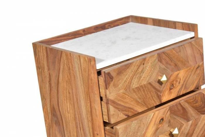 Comodă pentru dormitor Emporio, 105x35x45 cm, shessham/marmura, maro/ alb