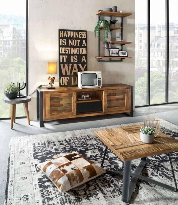 Comodă TV lemn reciclat Durban, 55x40x160 cm, lemn/metal, maro/multicolor