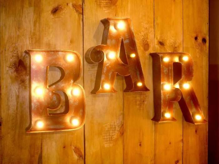 Decorațiune luminoasă de perete Bar, 46x10.5x113 cm, metal, maro