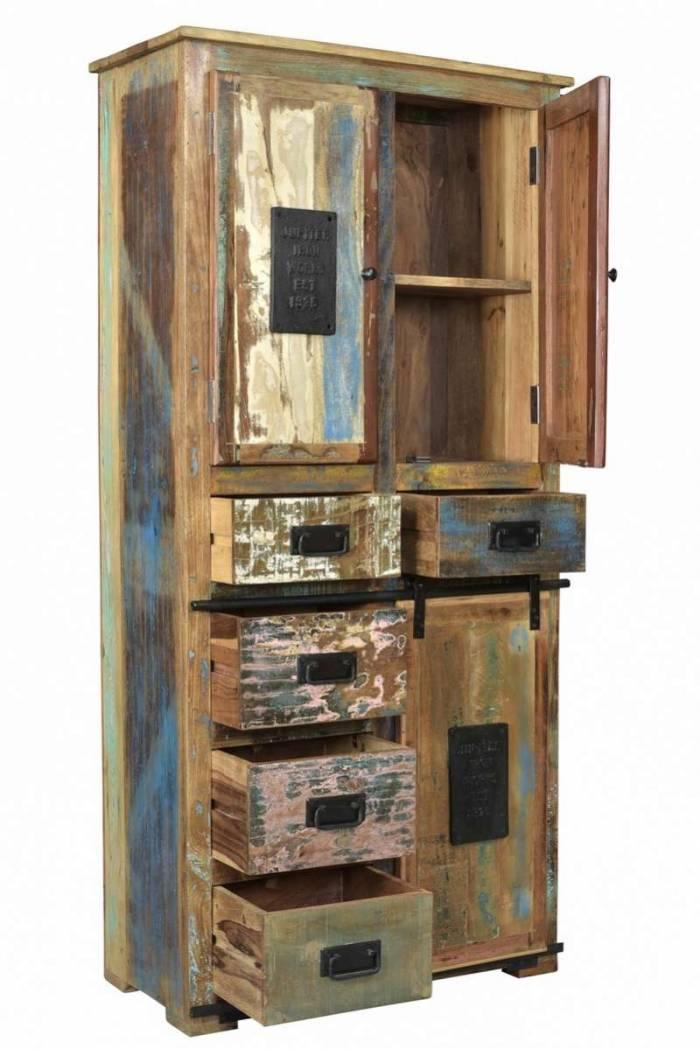 Dulap cu sertare Mercure, 180x40x90 cm, lemn/metal, multicolor