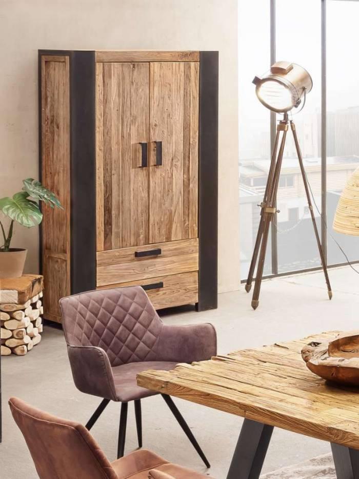 Dulap pentru haine Frama, 200x40x110 cm, lemn/metal, maro/ negru