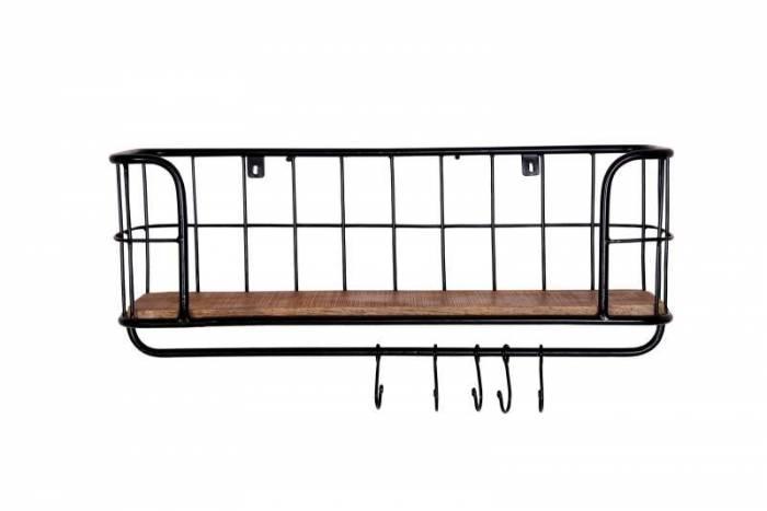 Etajeră cuier Stockton, 30x20x75 cm, mango/metal, negru/maro