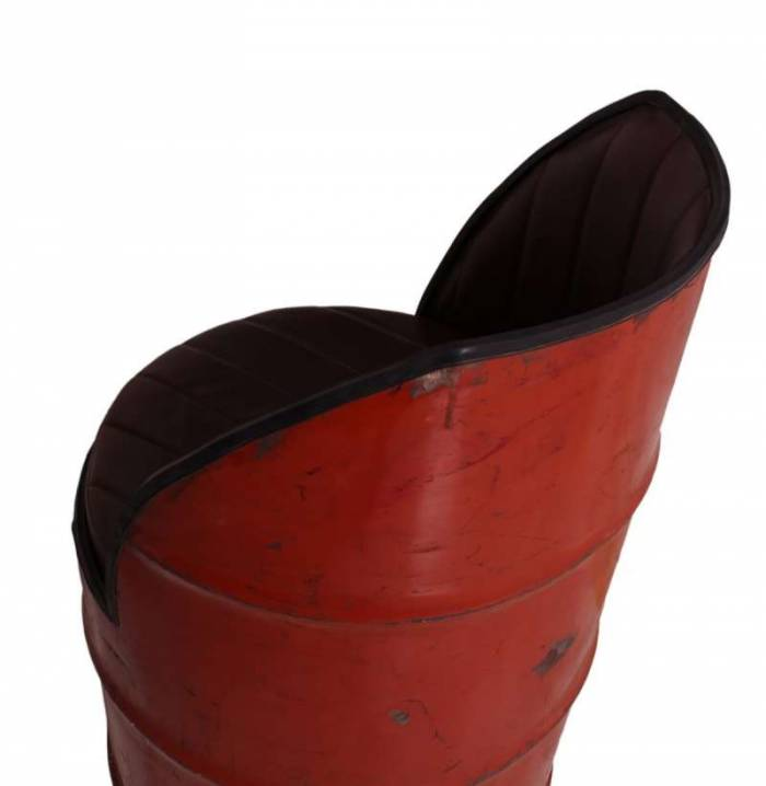 Fotoliu în stil industrial Farland, 88x60x60 cm, metal/ecopiele, maro/rosu