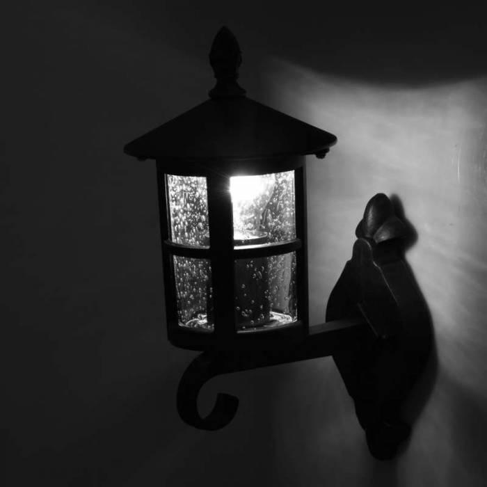 Lampă exterior de perete Cari , 22x15.5x35 cm, metal/ sticla, negru