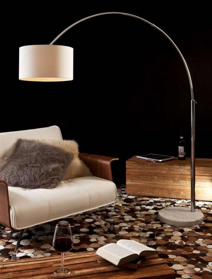 Lampadar modern Colter 210 cm, metal, alb/crom
