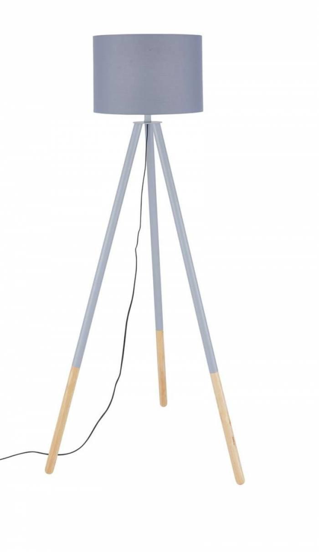 Lampadar trepied Pacific, 154x65x65 cm, lemn/poliester, gri/bej