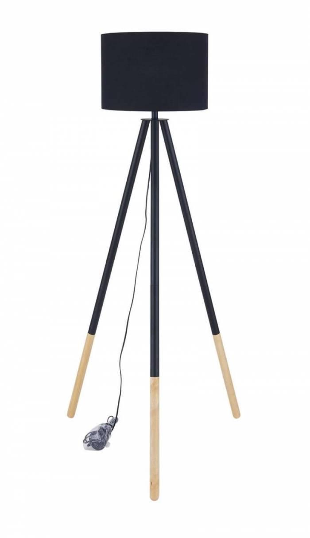 Lampadar trepied Pacific, 154x65x65 cm, lemn/poliester, negru/bej