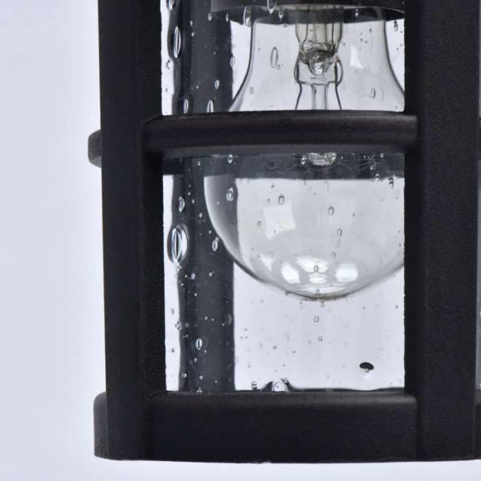 Lustră pendul de exterior Boris, 82x16 cm, metal/ sticla, negru