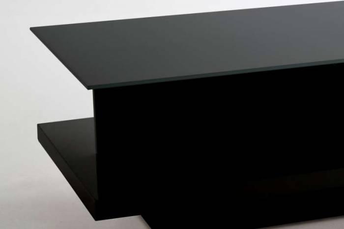 Masă de cafea Brooklyn 120x60x36 cm, MDF, sticlă, negru